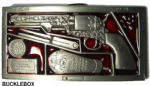 Navy Colt Gun Pistol Belt Buckle + display stand. Code BB3